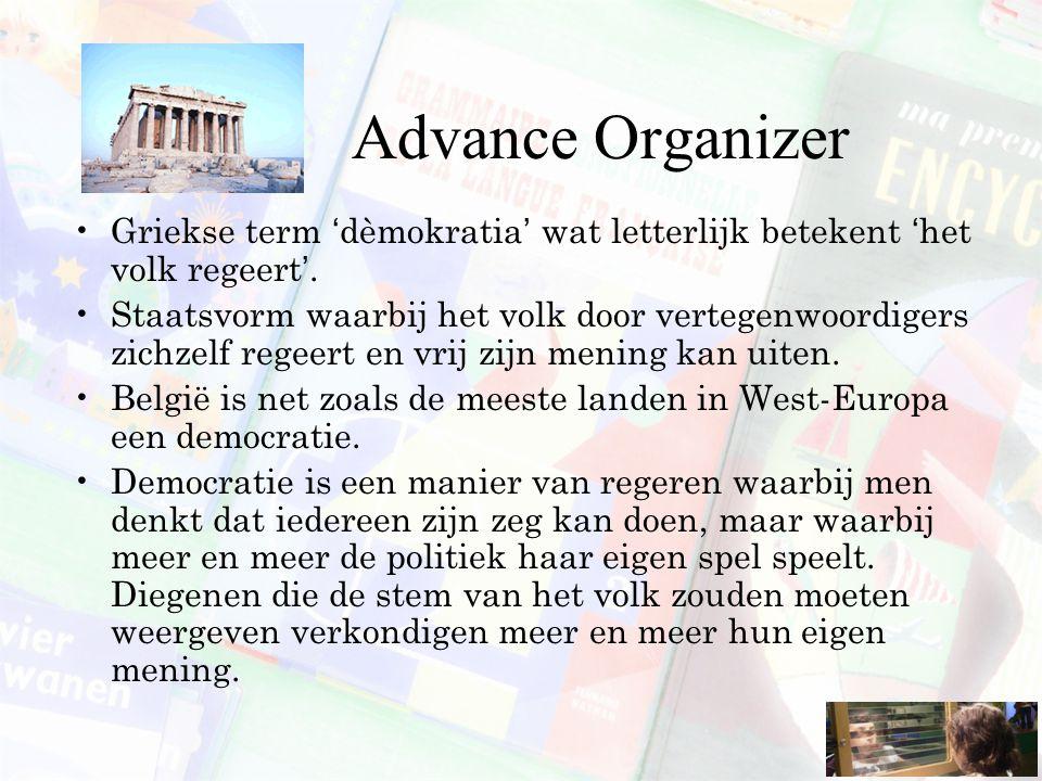 Advance Organizer Griekse term 'dèmokratia' wat letterlijk betekent 'het volk regeert'. Staatsvorm waarbij het volk door vertegenwoordigers zichzelf r