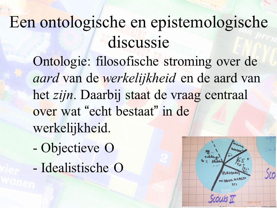 Een ontologische en epistemologische discussie Ontologie: filosofische stroming over de aard van de werkelijkheid en de aard van het zijn. Daarbij sta
