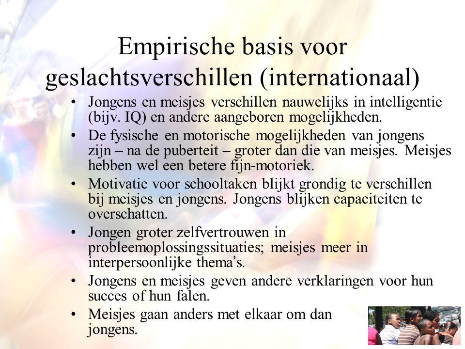 Empirische basis voor geslachtsverschillen (internationaal) Jongens en meisjes verschillen nauwelijks in intelligentie (bijv. IQ) en andere aangeboren