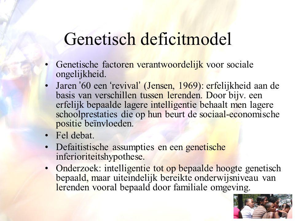Genetisch deficitmodel Genetische factoren verantwoordelijk voor sociale ongelijkheid. Jaren '60 een 'revival' (Jensen, 1969): erfelijkheid aan de bas