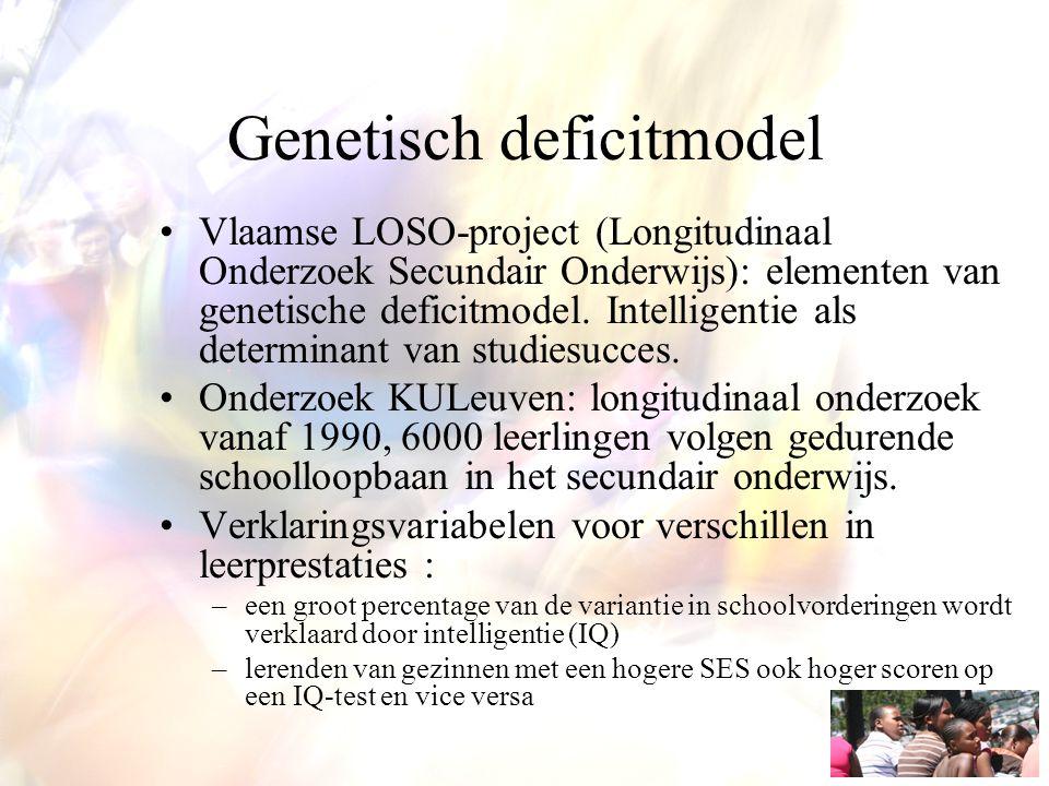Genetisch deficitmodel Vlaamse LOSO-project (Longitudinaal Onderzoek Secundair Onderwijs): elementen van genetische deficitmodel. Intelligentie als de