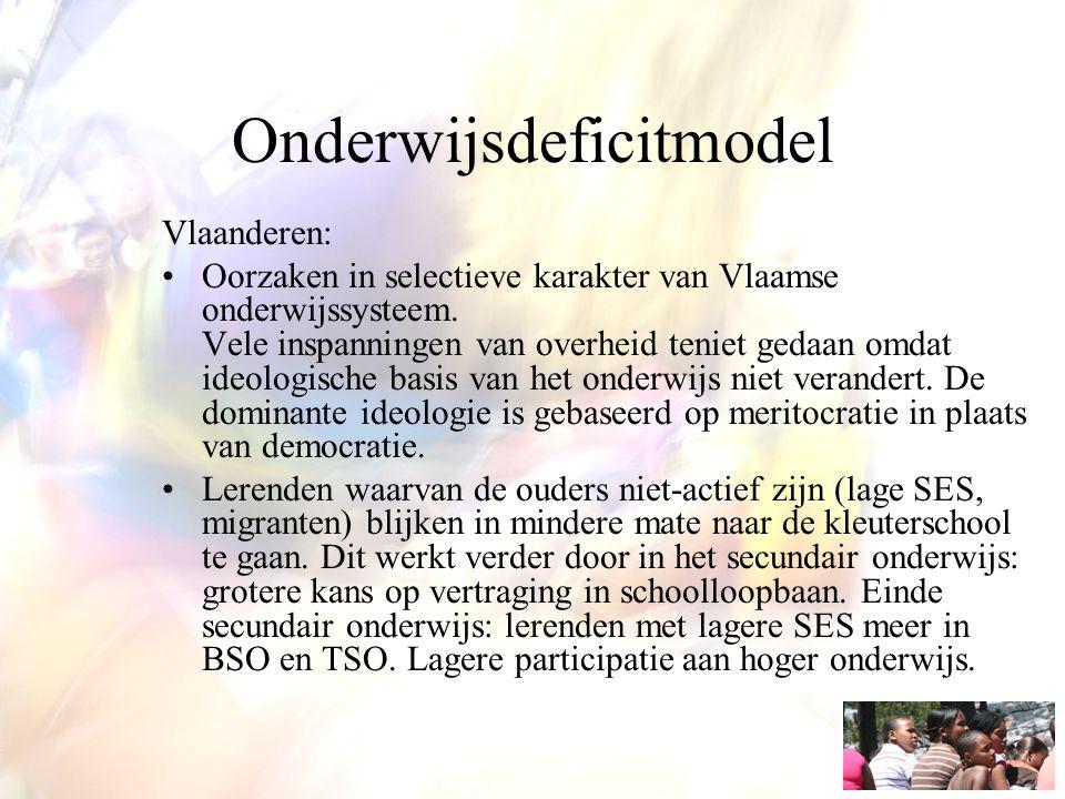 Onderwijsdeficitmodel Vlaanderen: Oorzaken in selectieve karakter van Vlaamse onderwijssysteem. Vele inspanningen van overheid teniet gedaan omdat ide