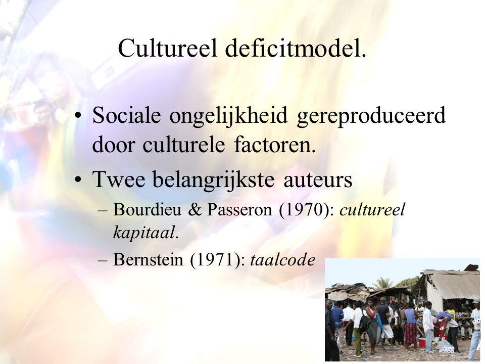 Cultureel deficitmodel. Sociale ongelijkheid gereproduceerd door culturele factoren. Twee belangrijkste auteurs –Bourdieu & Passeron (1970): cultureel