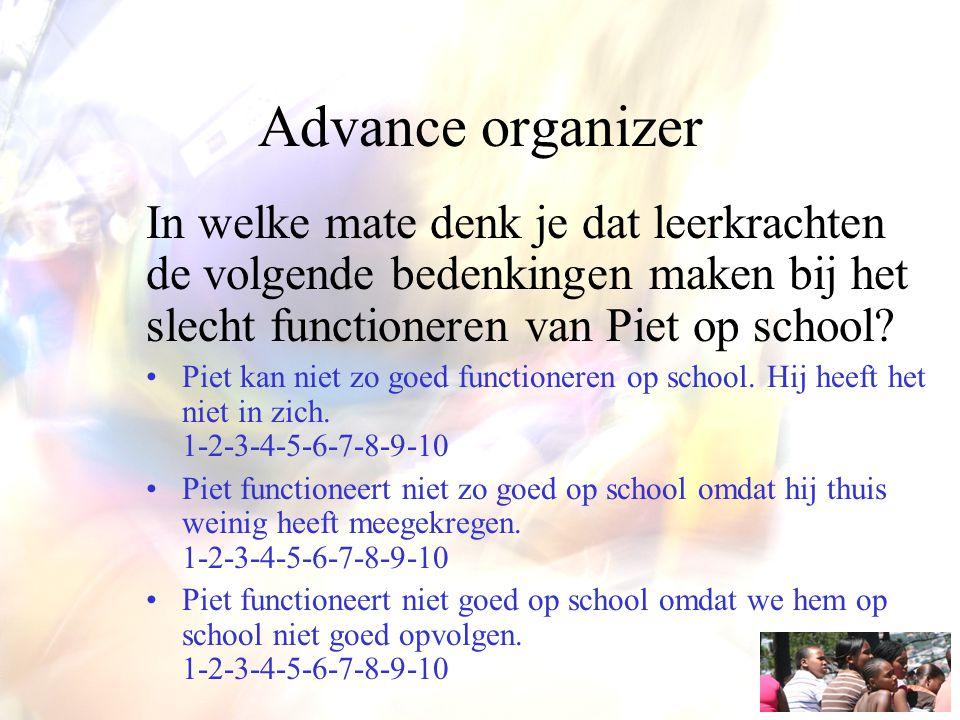 Advance organizer In welke mate denk je dat leerkrachten de volgende bedenkingen maken bij het slecht functioneren van Piet op school? Piet kan niet z
