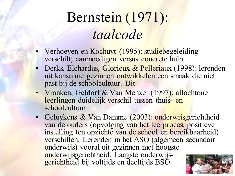 Bernstein (1971): taalcode Verhoeven en Kochuyt (1995): studiebegeleiding verschilt; aanmoedigen versus concrete hulp. Derks, Elchardus, Glorieux & Pe