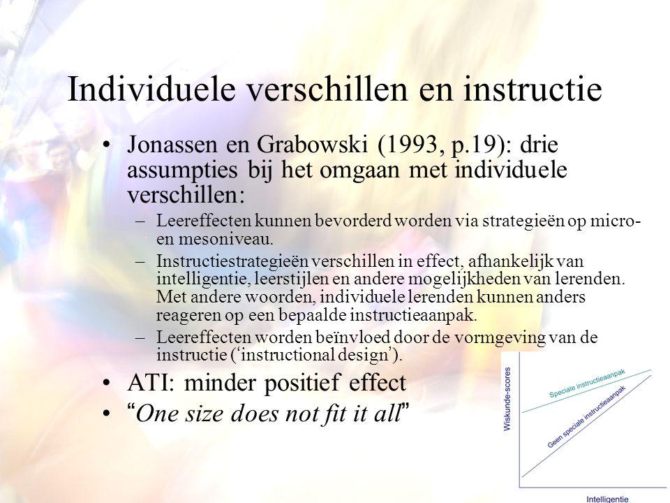Individuele verschillen en instructie Jonassen en Grabowski (1993, p.19): drie assumpties bij het omgaan met individuele verschillen: –Leereffecten ku