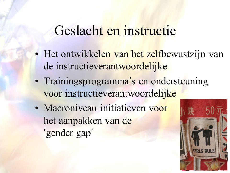 Geslacht en instructie Het ontwikkelen van het zelfbewustzijn van de instructieverantwoordelijke Trainingsprogramma's en ondersteuning voor instructie