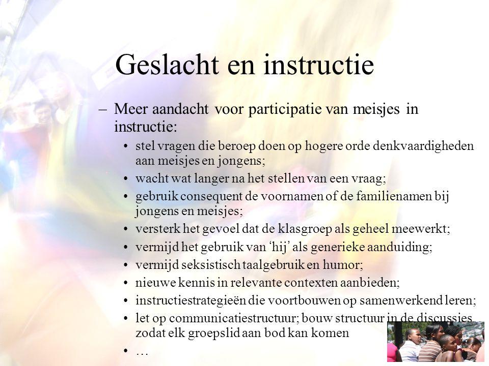 Geslacht en instructie –Meer aandacht voor participatie van meisjes in instructie: stel vragen die beroep doen op hogere orde denkvaardigheden aan mei