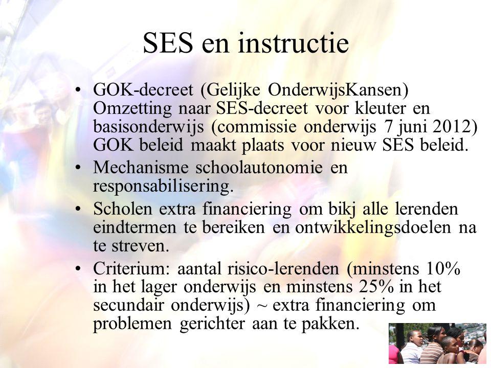 SES en instructie GOK-decreet (Gelijke OnderwijsKansen) Omzetting naar SES-decreet voor kleuter en basisonderwijs (commissie onderwijs 7 juni 2012) GO