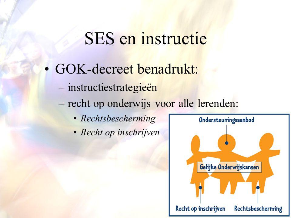 SES en instructie GOK-decreet benadrukt: –instructiestrategieën –recht op onderwijs voor alle lerenden: Rechtsbescherming Recht op inschrijven