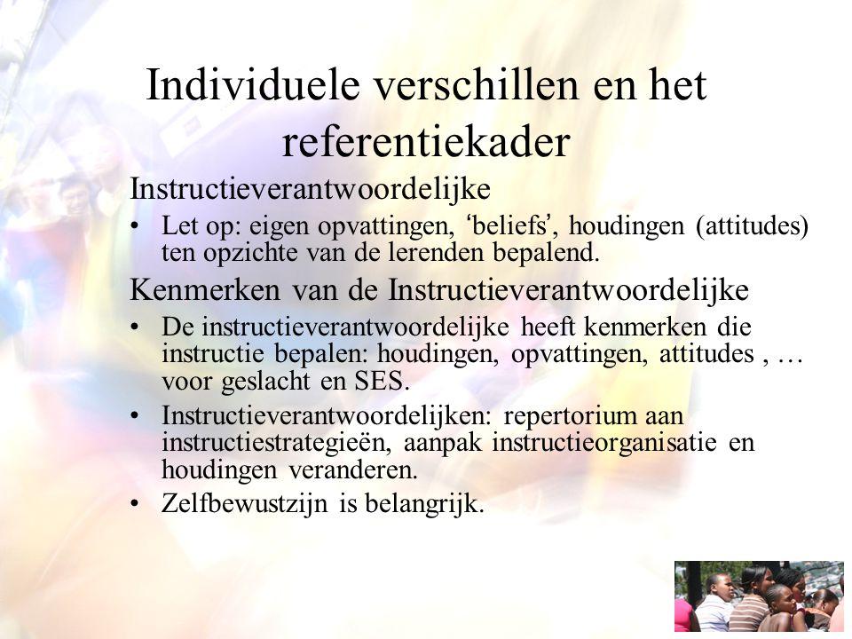 Individuele verschillen en het referentiekader Instructieverantwoordelijke Let op: eigen opvattingen, 'beliefs', houdingen (attitudes) ten opzichte va
