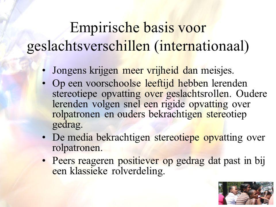 Empirische basis voor geslachtsverschillen (internationaal) Jongens krijgen meer vrijheid dan meisjes. Op een voorschoolse leeftijd hebben lerenden st