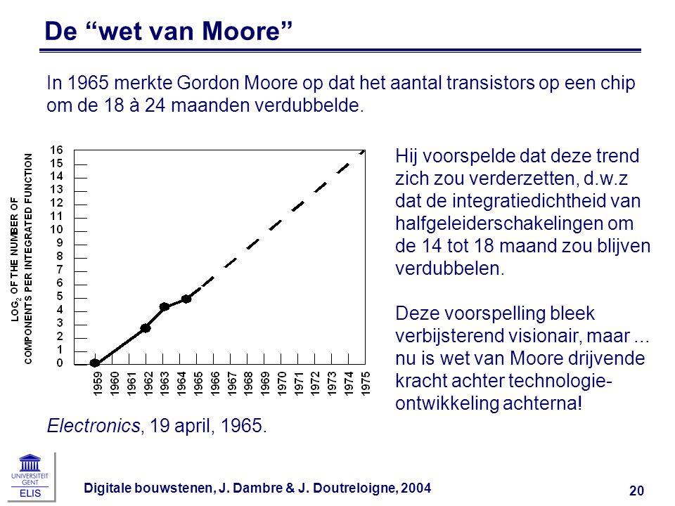 """Digitale bouwstenen, J. Dambre & J. Doutreloigne, 2004 20 De """"wet van Moore"""" Electronics, 19 april, 1965. In 1965 merkte Gordon Moore op dat het aanta"""