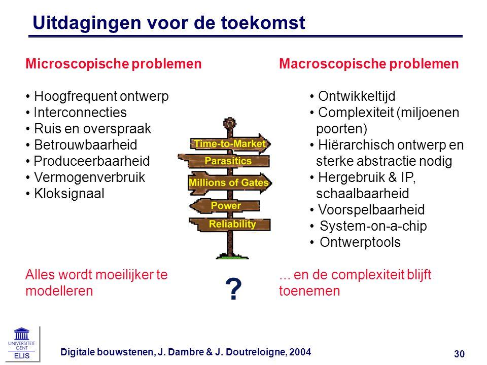 Digitale bouwstenen, J. Dambre & J. Doutreloigne, 2004 30 Uitdagingen voor de toekomst Microscopische problemen Hoogfrequent ontwerp Interconnecties R
