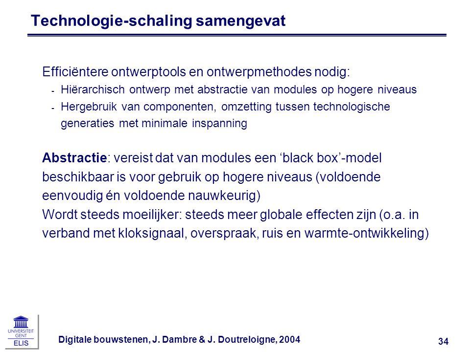 Digitale bouwstenen, J. Dambre & J. Doutreloigne, 2004 34 Technologie-schaling samengevat Efficiëntere ontwerptools en ontwerpmethodes nodig: ‑ Hiërar