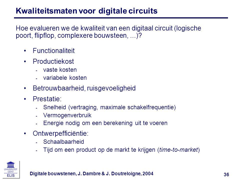 Digitale bouwstenen, J. Dambre & J. Doutreloigne, 2004 36 Kwaliteitsmaten voor digitale circuits Functionaliteit Productiekost ‑ vaste kosten ‑ variab