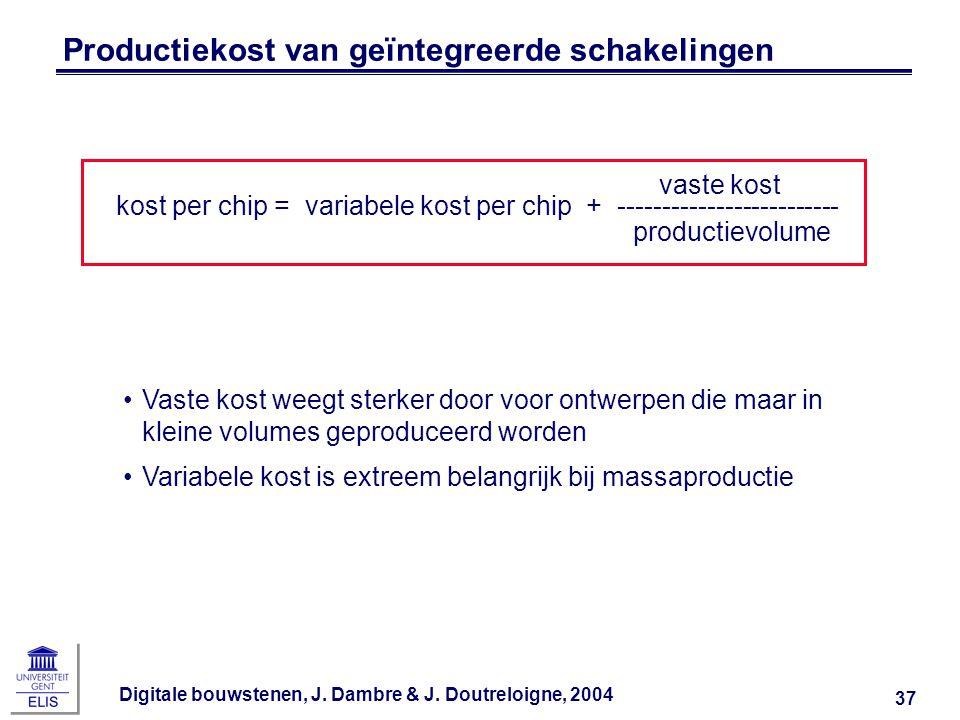 Digitale bouwstenen, J. Dambre & J. Doutreloigne, 2004 37 Productiekost van geïntegreerde schakelingen vaste kost kost per chip = variabele kost per c