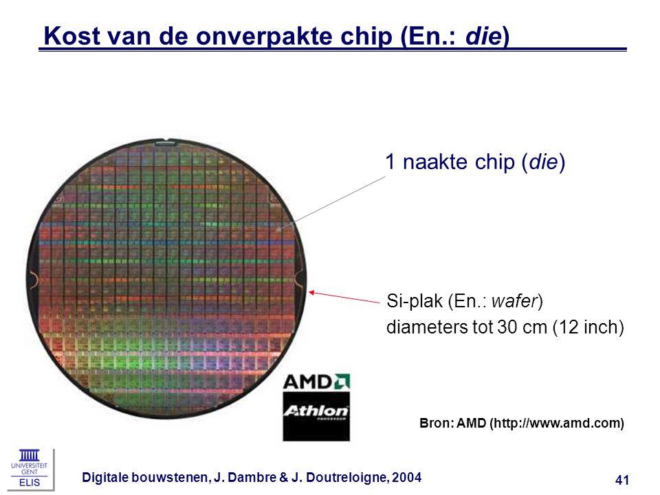 Digitale bouwstenen, J. Dambre & J. Doutreloigne, 2004 41 Kost van de onverpakte chip (En.: die) 1 naakte chip (die) Si-plak (En.: wafer) diameters to