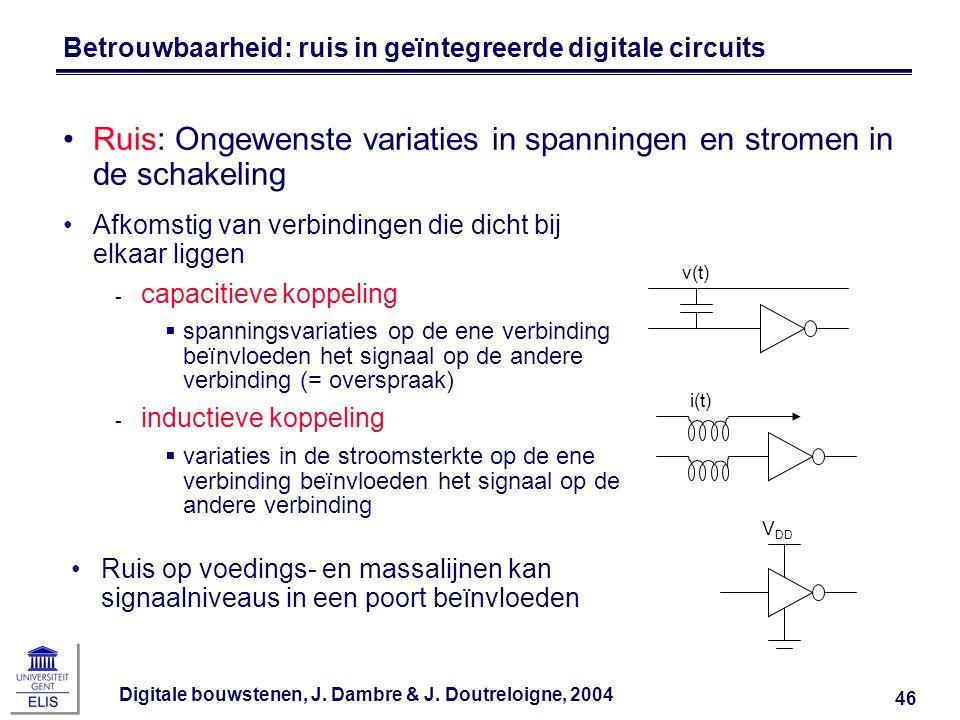 Digitale bouwstenen, J. Dambre & J. Doutreloigne, 2004 46 Betrouwbaarheid: ruis in geïntegreerde digitale circuits Ruis: Ongewenste variaties in spann