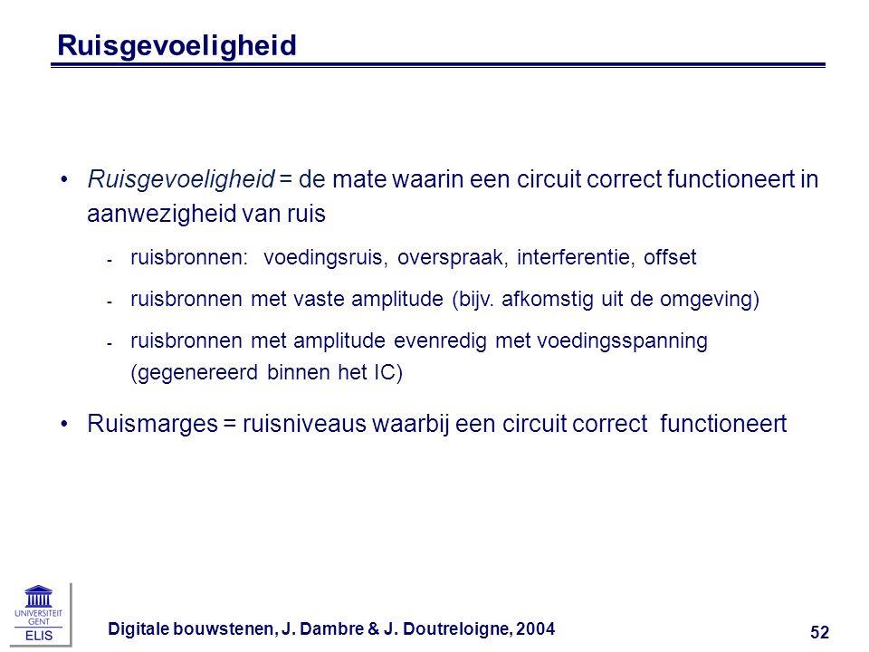 Digitale bouwstenen, J. Dambre & J. Doutreloigne, 2004 52 Ruisgevoeligheid Ruisgevoeligheid = de mate waarin een circuit correct functioneert in aanwe