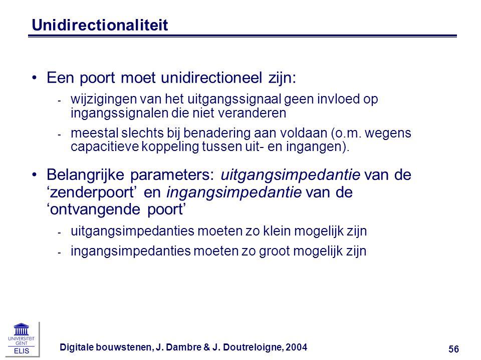 Digitale bouwstenen, J. Dambre & J. Doutreloigne, 2004 56 Unidirectionaliteit Een poort moet unidirectioneel zijn: ‑ wijzigingen van het uitgangssigna