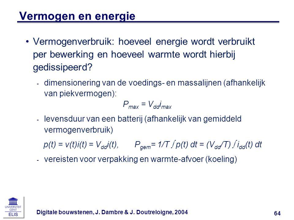 Digitale bouwstenen, J. Dambre & J. Doutreloigne, 2004 64 Vermogen en energie Vermogenverbruik: hoeveel energie wordt verbruikt per bewerking en hoeve