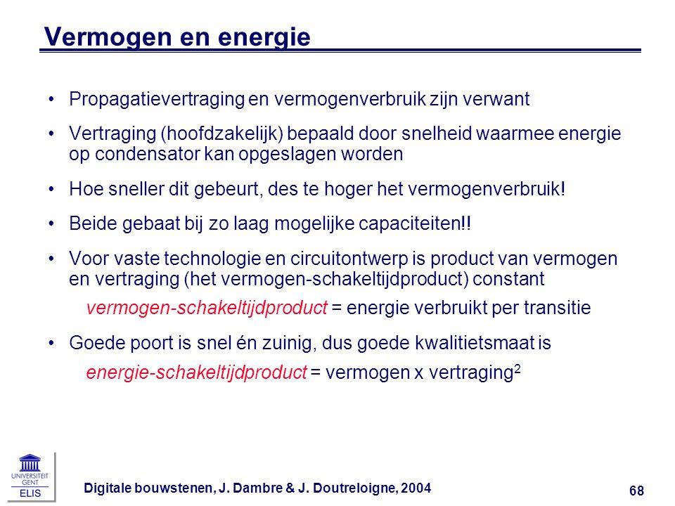 Digitale bouwstenen, J. Dambre & J. Doutreloigne, 2004 68 Vermogen en energie Propagatievertraging en vermogenverbruik zijn verwant Vertraging (hoofdz