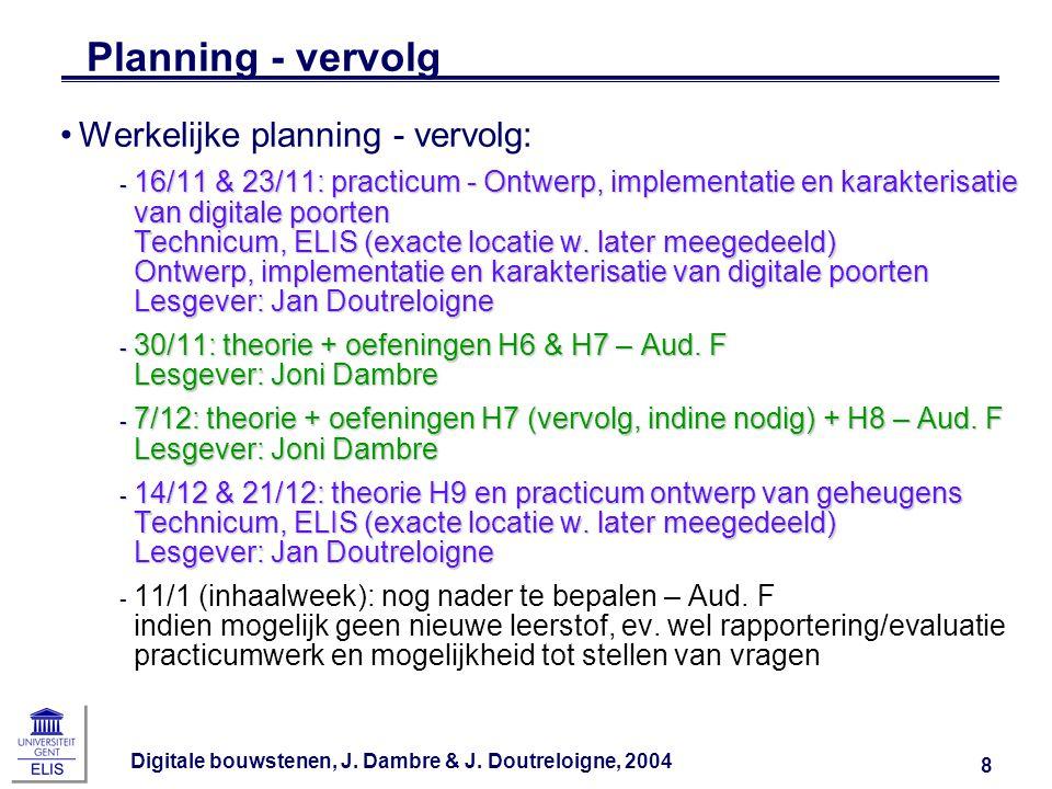 Digitale bouwstenen, J. Dambre & J. Doutreloigne, 2004 8 Planning - vervolg Werkelijke planning - vervolg: ‑ 16/11 & 23/11: practicum - Ontwerp, imple