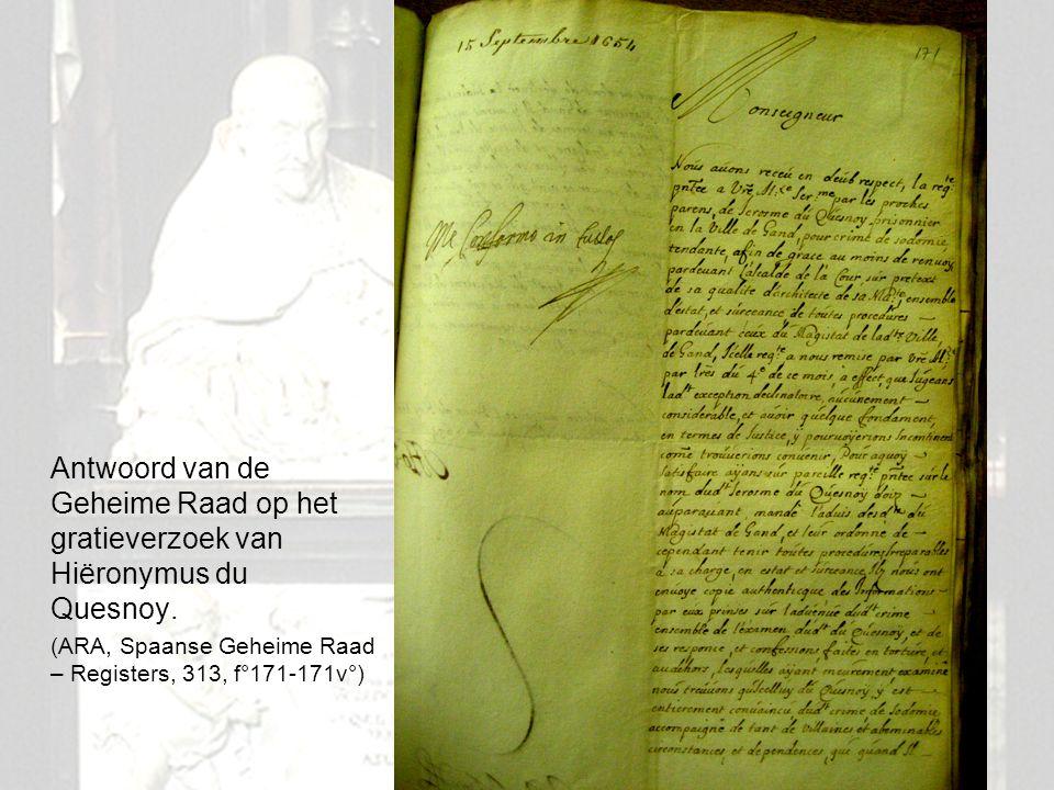 14 Antwoord van de Geheime Raad op het gratieverzoek van Hiëronymus du Quesnoy. (ARA, Spaanse Geheime Raad – Registers, 313, f°171-171v°)