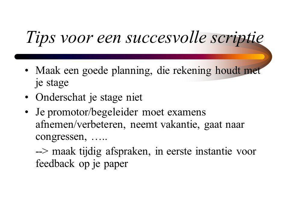 Tips voor een succesvolle scriptie Maak een goede planning, die rekening houdt met je stage Onderschat je stage niet Je promotor/begeleider moet exame
