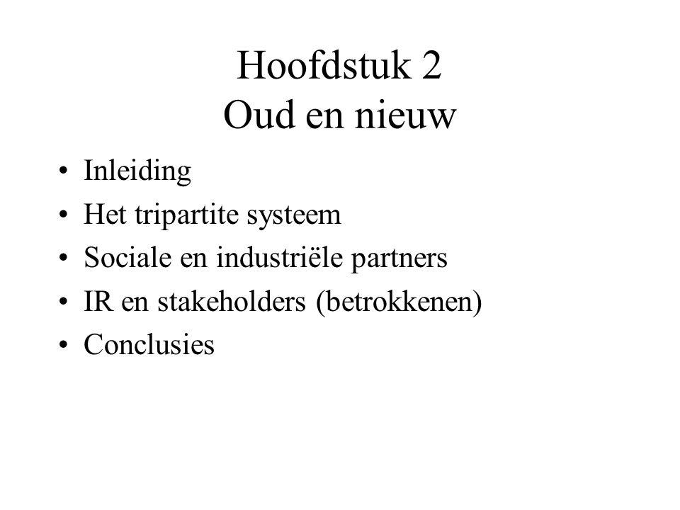 Hoofdstuk 2 Oud en nieuw Inleiding Het tripartite systeem Sociale en industriële partners IR en stakeholders (betrokkenen) Conclusies