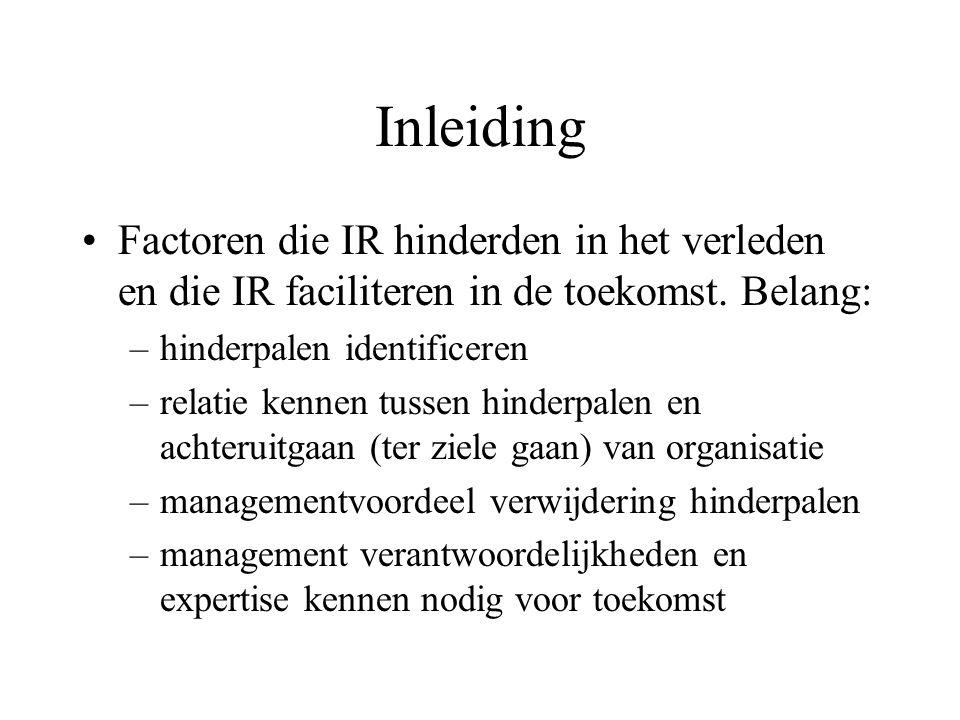 Inleiding Factoren die IR hinderden in het verleden en die IR faciliteren in de toekomst.