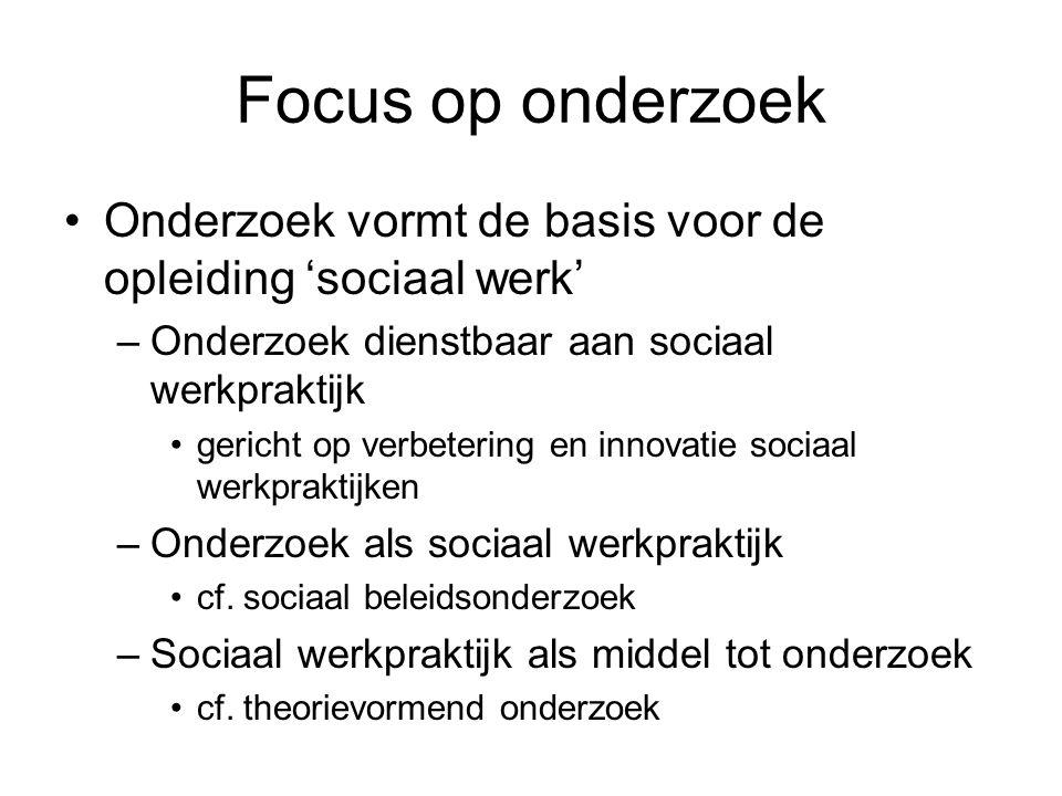 Focus op onderzoek Onderzoek vormt de basis voor de opleiding 'sociaal werk' –Onderzoek dienstbaar aan sociaal werkpraktijk gericht op verbetering en innovatie sociaal werkpraktijken –Onderzoek als sociaal werkpraktijk cf.