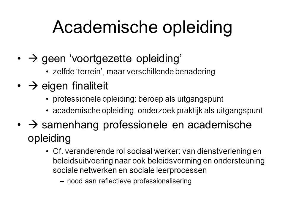 Academische opleiding  geen 'voortgezette opleiding' zelfde 'terrein', maar verschillende benadering  eigen finaliteit professionele opleiding: beroep als uitgangspunt academische opleiding: onderzoek praktijk als uitgangspunt  samenhang professionele en academische opleiding Cf.