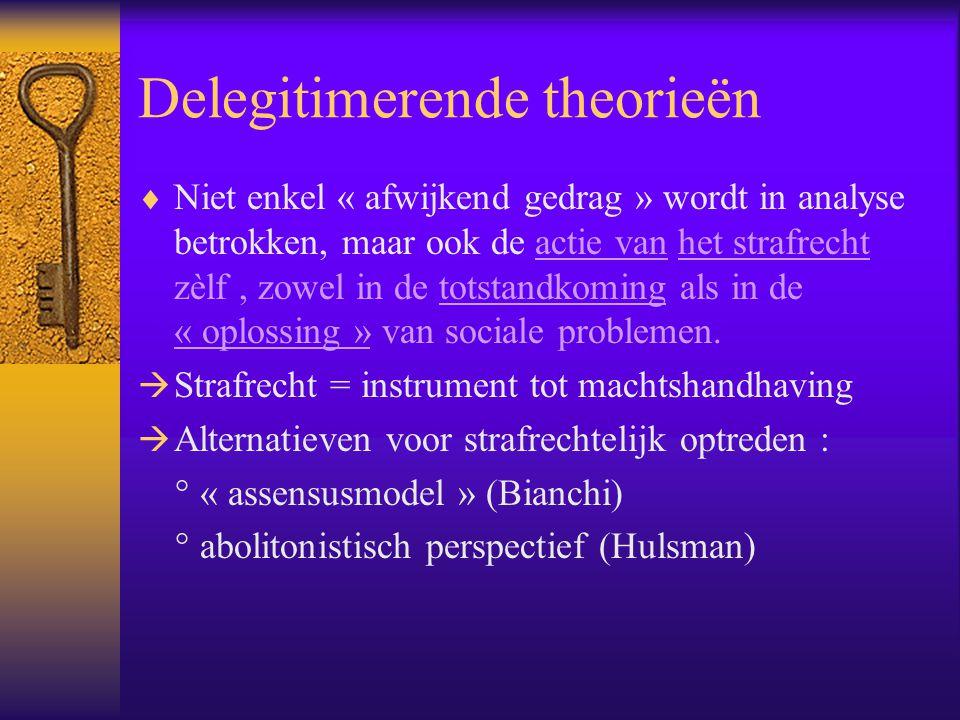 Delegitimerende theorieën  Niet enkel « afwijkend gedrag » wordt in analyse betrokken, maar ook de actie van het strafrecht zèlf, zowel in de totstan