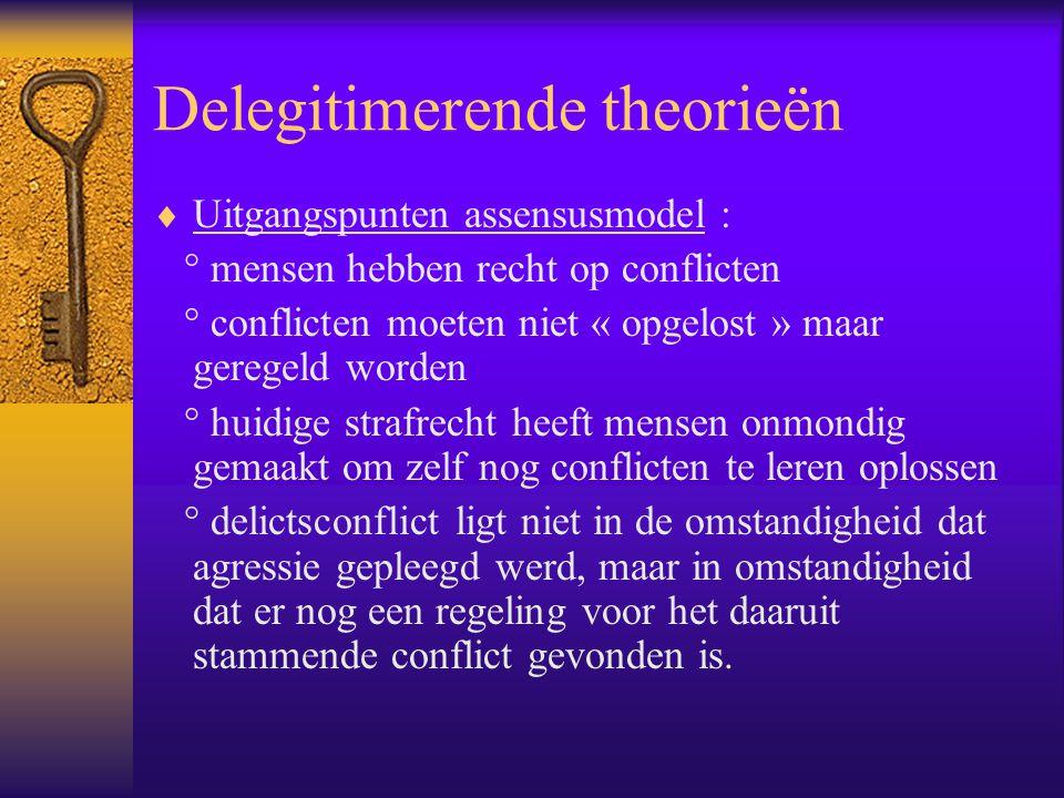 Delegitimerende theorieën  Uitgangspunten assensusmodel : ° mensen hebben recht op conflicten ° conflicten moeten niet « opgelost » maar geregeld wor