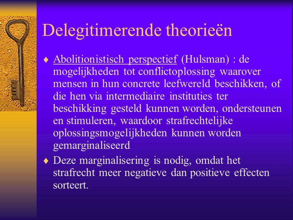 Delegitimerende theorieën  Abolitionistisch perspectief (Hulsman) : de mogelijkheden tot conflictoplossing waarover mensen in hun concrete leefwereld