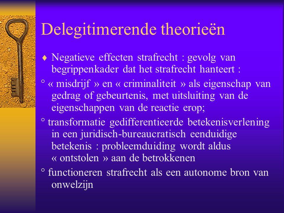 Delegitimerende theorieën  Negatieve effecten strafrecht : gevolg van begrippenkader dat het strafrecht hanteert : ° « misdrijf » en « criminaliteit