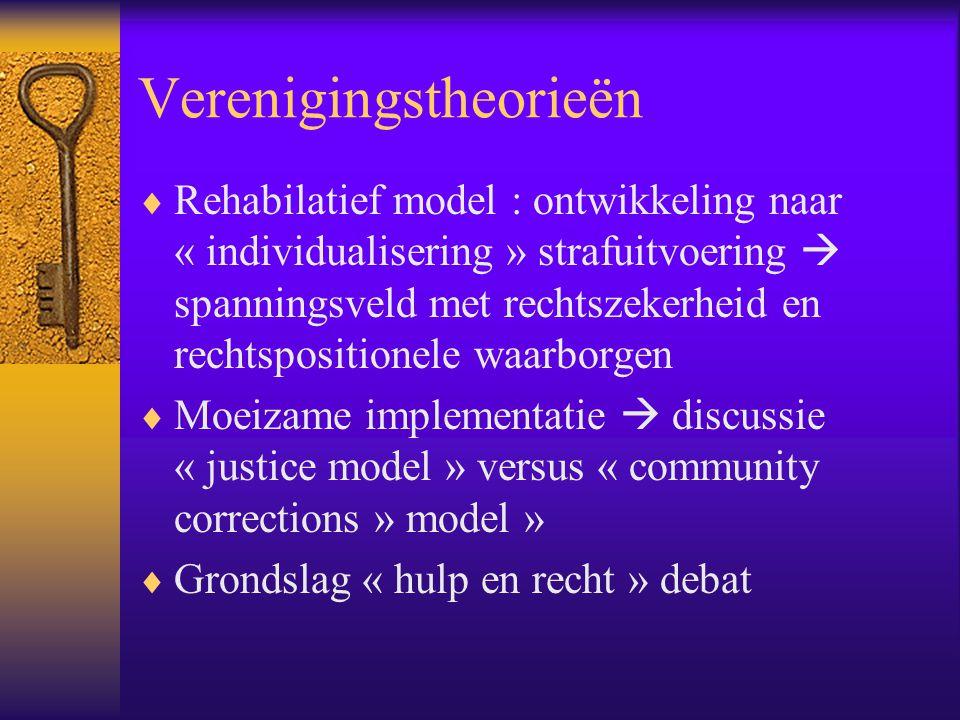 Verenigingstheorieën  Rehabilatief model : ontwikkeling naar « individualisering » strafuitvoering  spanningsveld met rechtszekerheid en rechtsposit