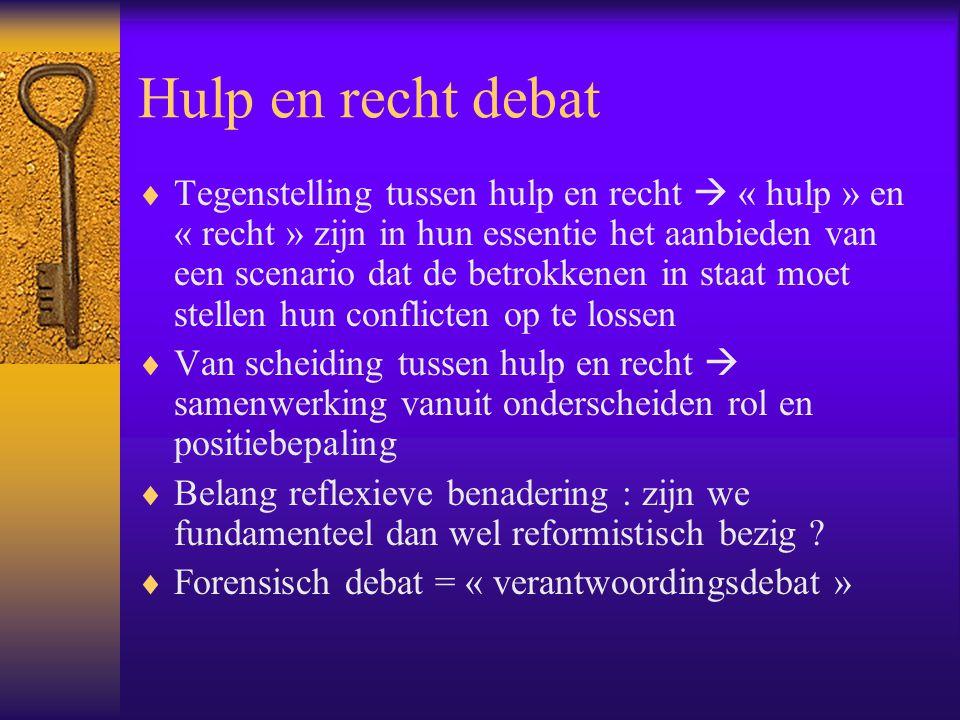 Hulp en recht debat  Tegenstelling tussen hulp en recht  « hulp » en « recht » zijn in hun essentie het aanbieden van een scenario dat de betrokkene