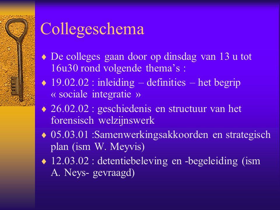 Collegeschema  De colleges gaan door op dinsdag van 13 u tot 16u30 rond volgende thema's :  19.02.02 : inleiding – definities – het begrip « sociale