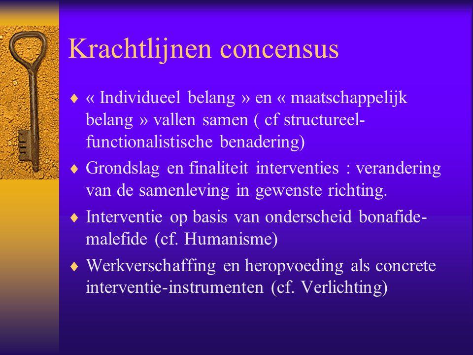 Krachtlijnen concensus  « Individueel belang » en « maatschappelijk belang » vallen samen ( cf structureel- functionalistische benadering)  Grondsla