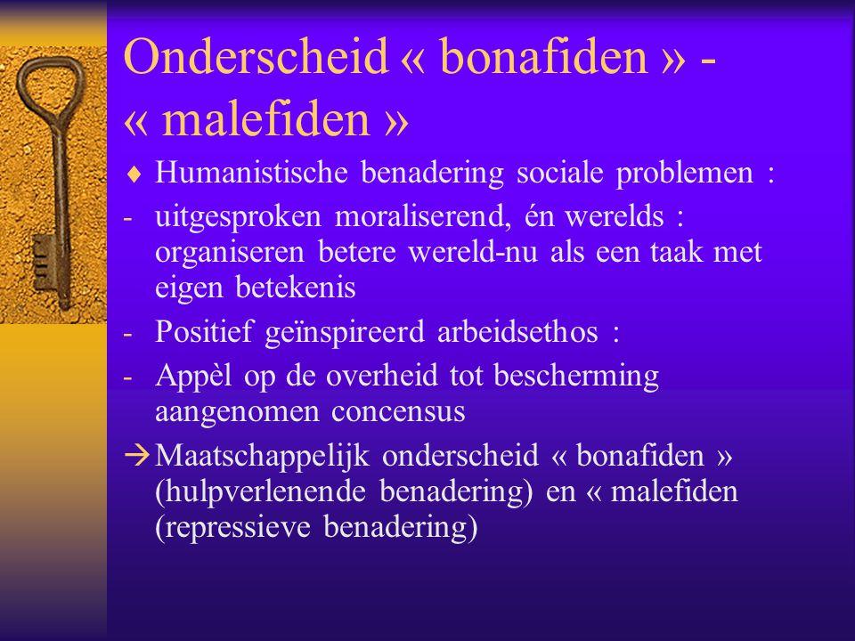 Onderscheid « bonafiden » - « malefiden »  Humanistische benadering sociale problemen : - uitgesproken moraliserend, én werelds : organiseren betere