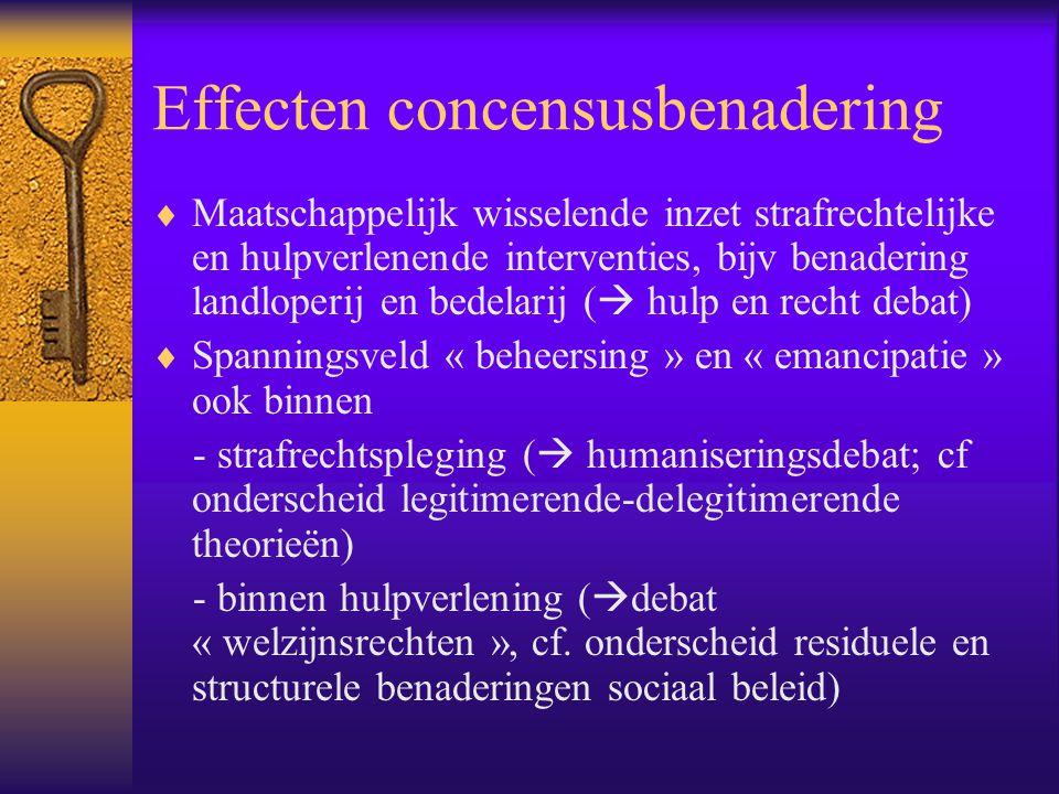 Effecten concensusbenadering  Maatschappelijk wisselende inzet strafrechtelijke en hulpverlenende interventies, bijv benadering landloperij en bedela