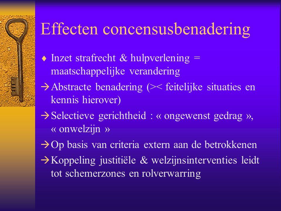 Effecten concensusbenadering  Inzet strafrecht & hulpverlening = maatschappelijke verandering  Abstracte benadering (>< feitelijke situaties en kenn