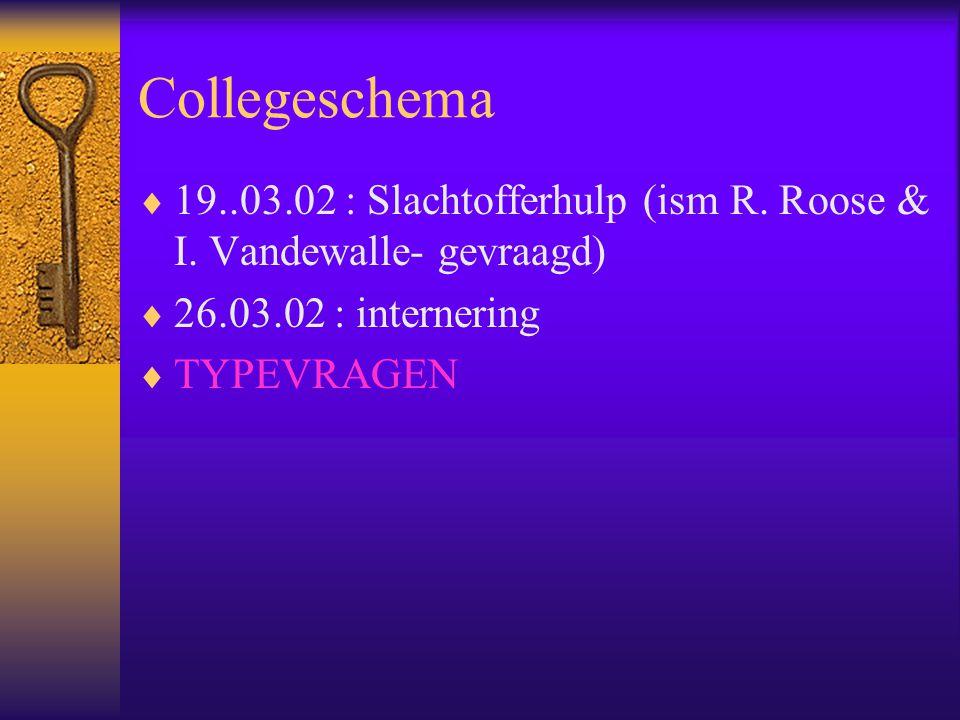 Collegeschema  19..03.02 : Slachtofferhulp (ism R. Roose & I. Vandewalle- gevraagd)  26.03.02 : internering  TYPEVRAGEN