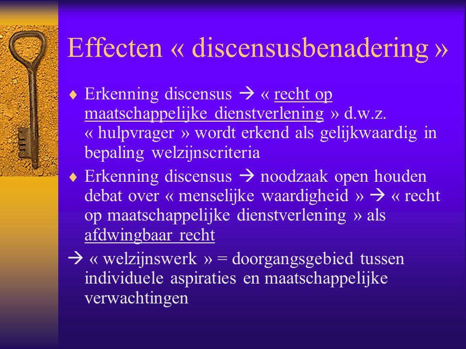 Effecten « discensusbenadering »  Erkenning discensus  « recht op maatschappelijke dienstverlening » d.w.z. « hulpvrager » wordt erkend als gelijkwa