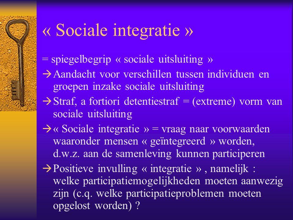 « Sociale integratie » = spiegelbegrip « sociale uitsluiting »  Aandacht voor verschillen tussen individuen en groepen inzake sociale uitsluiting  S