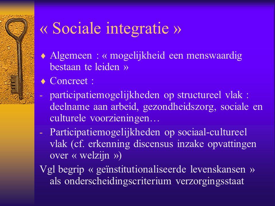 « Sociale integratie »  Algemeen : « mogelijkheid een menswaardig bestaan te leiden »  Concreet : - participatiemogelijkheden op structureel vlak :