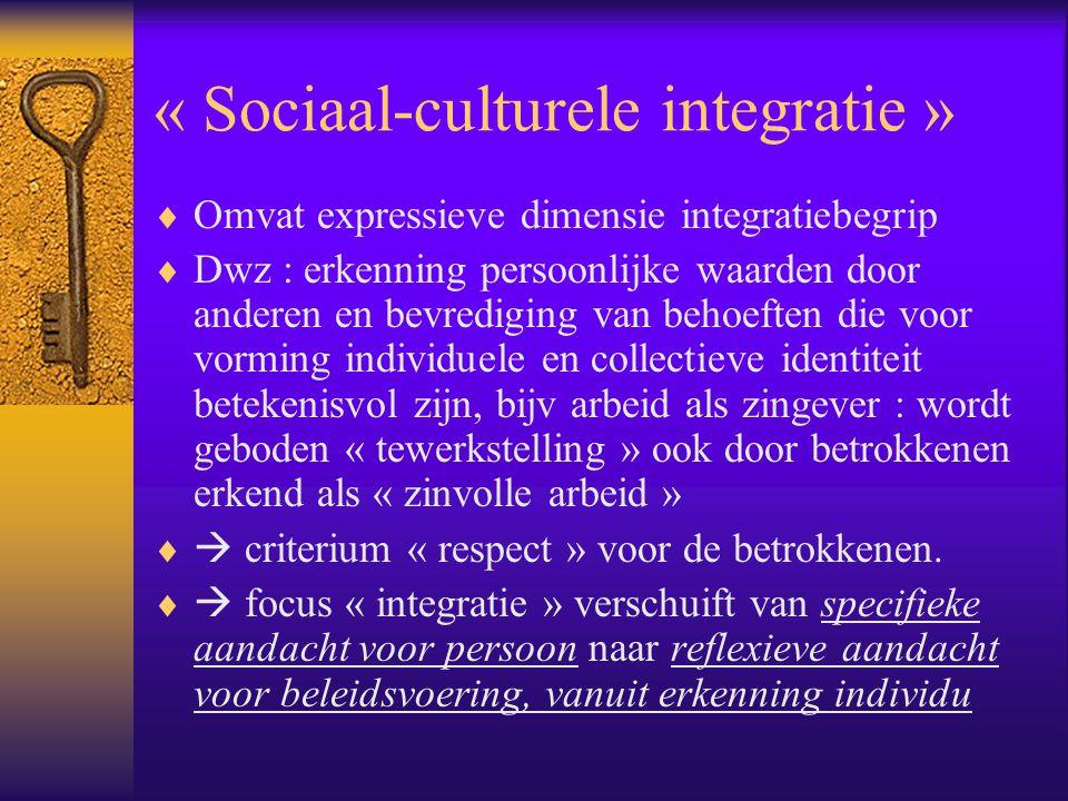 « Sociaal-culturele integratie »  Omvat expressieve dimensie integratiebegrip  Dwz : erkenning persoonlijke waarden door anderen en bevrediging van